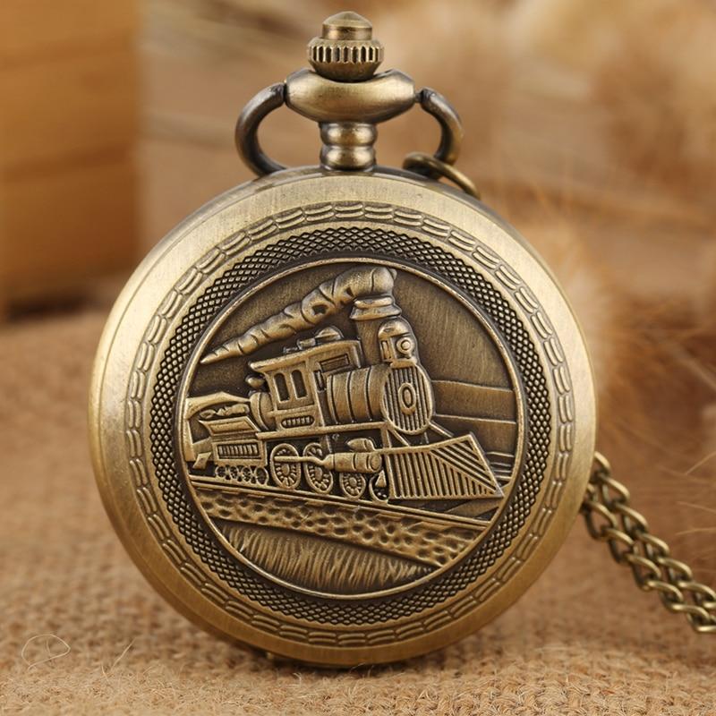 Antique Retro Locomotive Train Pattern Quartz Pocket Watch Bronze Steampunk Necklace Pendant Chain Art Collectible Unisex Gifts