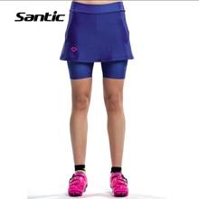 2017 nuevo diseño santic ciclismo pantalones cortos mujeres culotte 4d acolchado transpirable road mtb bike sport falda medias envío gratis