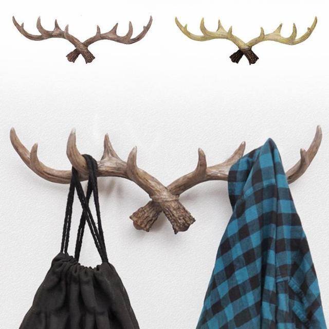 Resin Deer Antler Hanging Hooks Rack Crafts Home Decorative Wall Hat ...
