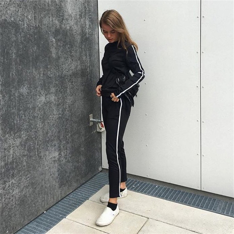CWLSP Autumn Casual Side Striped Tracksuit for Women Skinny Patchwork 2 Pieces Sets Sportswear ropa deportiva mujer QL4142 16