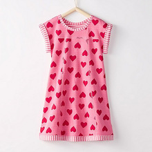Little Maven Brand New Summer Kids Lovely Sleeveless Red Hearts Printed Pink O-neck Kintted  Cotton Girls Fashion Dresses