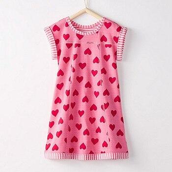 Nhỏ Maven Thương Hiệu Mới Trẻ Em Mùa Hè Đáng Yêu Không Tay Trái Tim Màu Đỏ In Màu Hồng O-Cổ Cotton Kintted Cô Gái Váy Thời Trang
