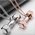Mancuerna barra de fitness exquisito collar colgante de joyería de regalo del amante pareja de dar a la gente el poder de acero titanium n0494