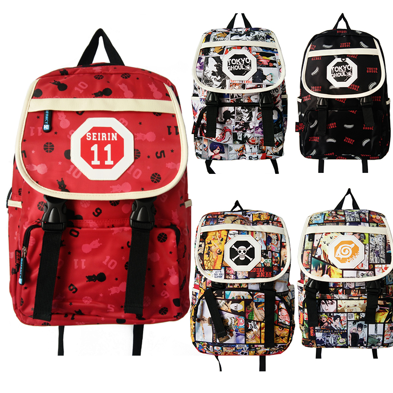 Anime Kuroko No Basuke/Naruto/One Piece/Tokyo Ghoul Ken Kaneki Shoulder Bag Student Laptop Schoolbag Backpack Rucksack anime tokyo ghoul cosplay anime shoulder bag male and female middle school student travel leisure backpack page 9