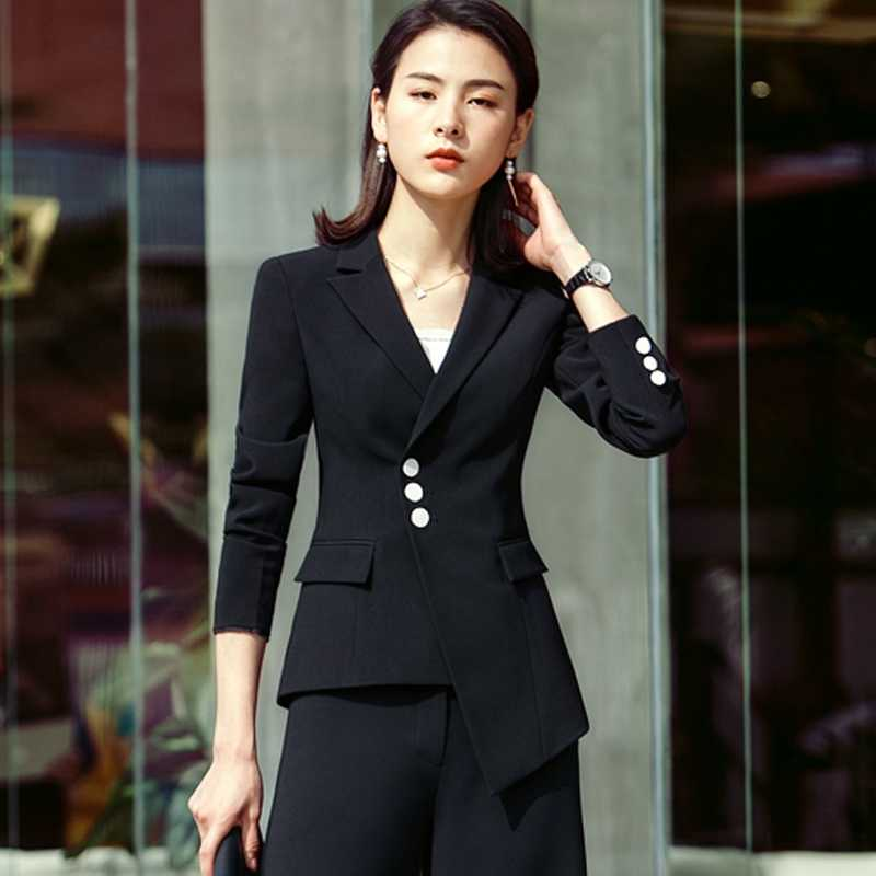 0f7c92e15df ... 2018 Suit Women New Fashion Business Interview Host Overalls Suit  Wide-legged Pants OL Manager