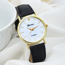 Splendid wanita Fashion Desain Dial Kulit Band Analog Geneva Quartz Wrist Watc hmontre femme(China)