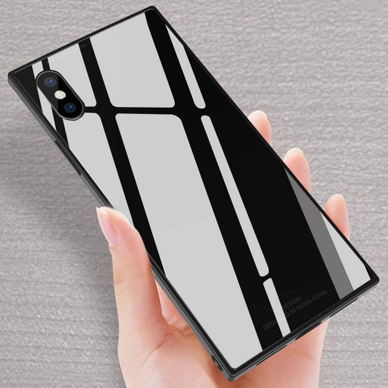 Square Tempered glass phone case for Iphone X newest high-quality full cover phone case for Iphone 7plus color plain case for ip