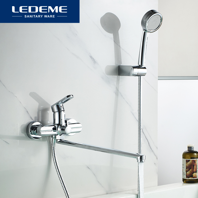 LEDEME Bathtub Faucet Brass Chrome Wall Mounted Bathtub Shower Mixer Tap Hot And Cold Water Faucet Bath Bathtub Faucets L2266