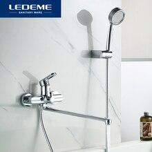 LEDEME Bathtub Faucet Brass Chrome Wall Mounted Bathtub Shower Mixer Tap Hot And Cold Water Faucet Bath Bathtub Faucets L2266