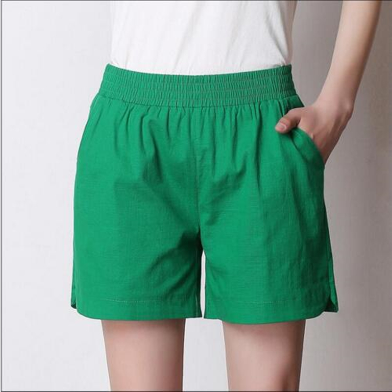 Plus Size M-5XL 6XL 7XL 2019 Women Solid Color Elastic High Waist   Shorts  ,Casual Cotton Linen   Shorts   with Pockets Women Clothing
