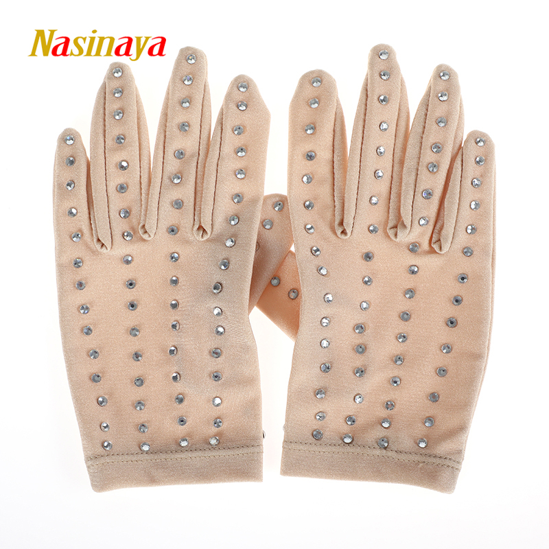 22 Colors Wrist Gloves Figure Skating Ice Training Gloves Exquisite Safety Child Adult shiny Rhinestone skin color black white 1