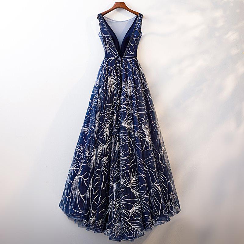Elegant Dark Blue V Neck A Line Sleeveless Zipper Up Dress 3
