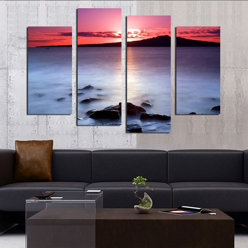 4 Piece Red Cloud Landscape Fairyland Painting Modern Home Wall