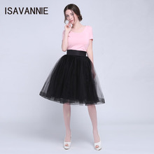 ISAVANNIE 7 Layers Premium Sewn Tulle Skirt Hidden Zipper High Waisted Maxi Skirts Womens Tea Length Tutu Skirt Faldas Saias