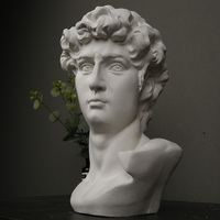 Bust of David Nude Italian Statue Sculpture Michelangelo Buonarroti Plaster Figurine For Home Decorations Gifts R128