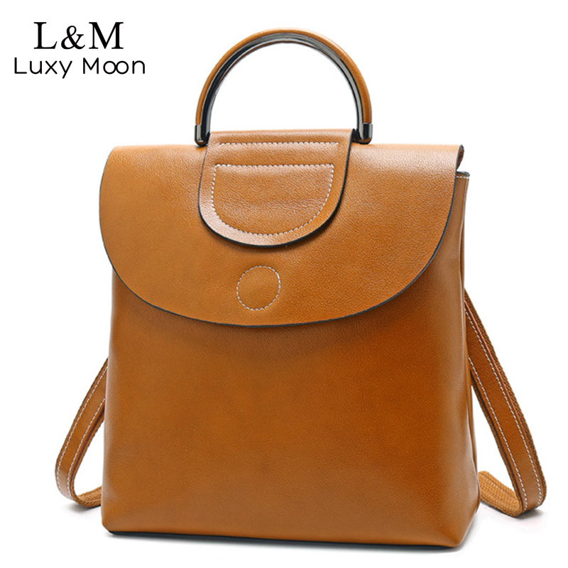 Classic Women Backpack Female High Quality Oil Wax Leather Lady Shoulder Bags College Bag Handle Backpack mochila Vintage XA406H