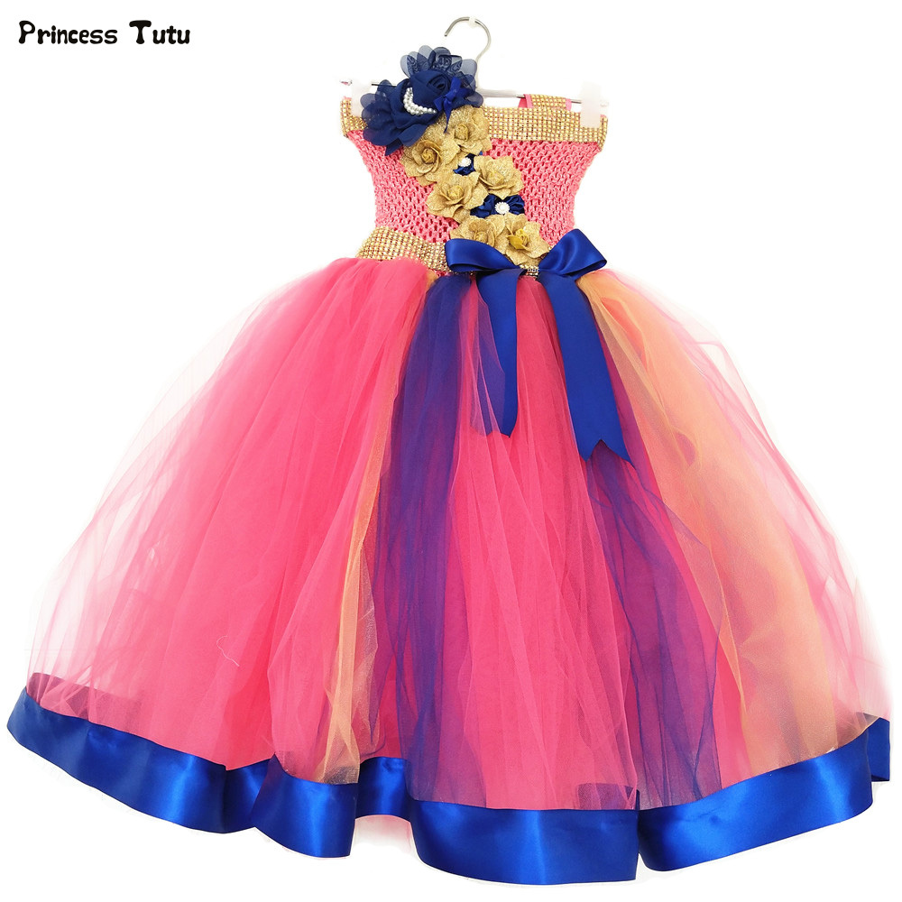 Gorgeous Children Flower Girl Dress Tulle Girls Tutu Dress Kids Princess Ball Gown For Girls Wedding Pageant Party Dresses 1-14Y 2018 new summer girl children s ball gown princess dress costumes feathers wedding dresses girls kids lace tutu dresses d048