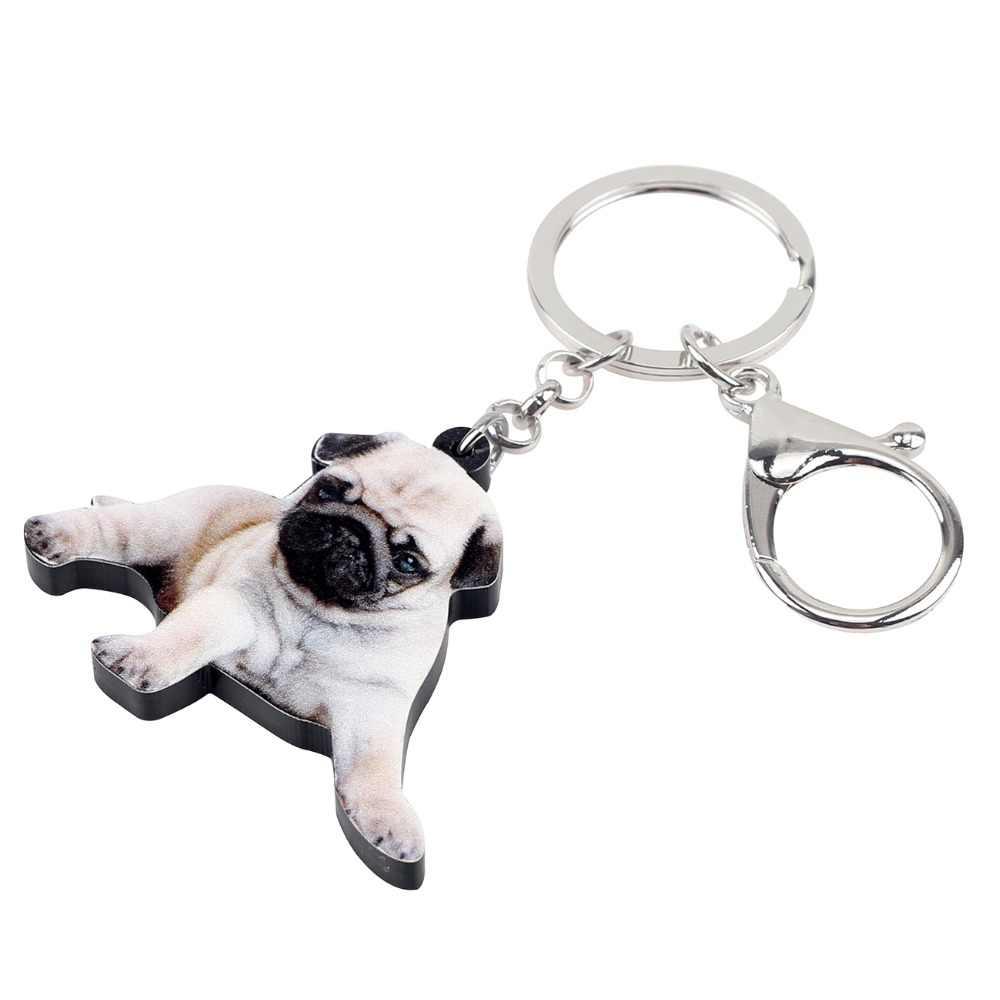 Bonsny Akrilik Tatlı Yalan Pug Köpek anahtar zincirleri Anahtarlıklar Tutucu Yenilik hayvan figürlü mücevherat Kadınlar Kızlar Için Çanta Cüzdan kolye uçları