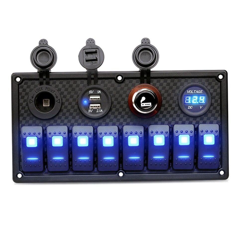 8 Gang кулисный переключатель панель 12 В/24 В выключатель вольтметр для автомобиля морской лодка DXY88