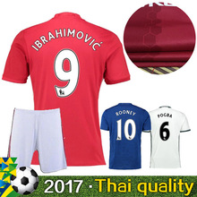 2016 HOT SALE 2017 football jerseys QUALITY MANCHESTEER SHORT SLEEVE JERSEY ADULT KIT 16 17 RED BLUE 3RD WHITE UNITEDS MEN KIT