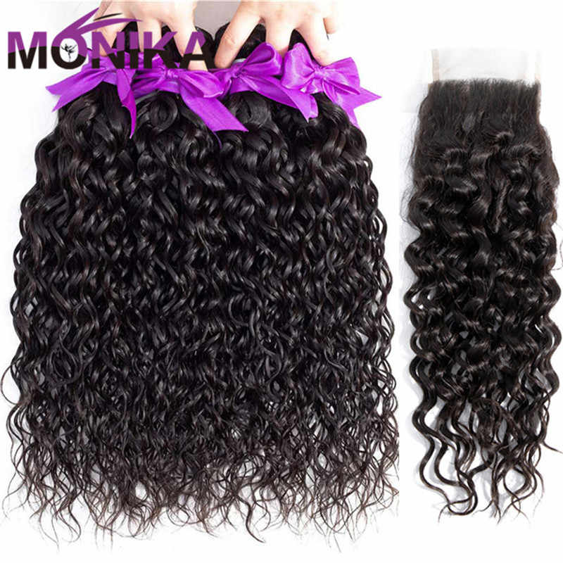 Monika 30inch Water Wave Bundles With Closure NonRemy Human Hair 3 Bundles With Closure Brazilian Hair Weave Bundle With Closure