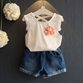 2017 Summer Girls clothing set Kids Baby Girl Clothes Cotton tassel vest+denim shorts, School White Blouses For Girls 2-7y Child
