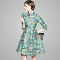 High Quality Chinese Style Jacquard Ball Gown Dress 2018 New Brand Runway Women Sprint Dress Office