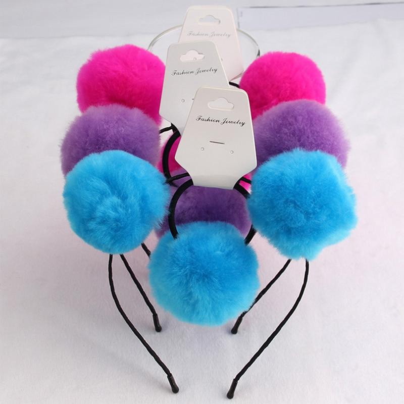 Sweet girls beautiful hairband headpieces rabbit ears plush ball big hair head hoop hair accessories Tiara for children 8set lot in Hair Accessories from Mother Kids