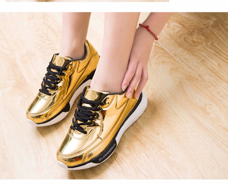 Mirror Surface Women 90 Casual Shoes Fashion Spring Lace Up Platform Womens Shoes Low Top Lace Up Trainers Women Gold Shoes YD52 (15)