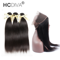 HCDIVA Peruvian Straight Hair Pre Plucked 360 Frontal With Bundles 100% Human Hair 3 Bundles With Frontal Non Remy Free Shipping