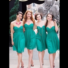 Custom Made Sweetheart Short Hunter Green Bridesmaid Dresses Free Shipping 2016 Pleat Mini Junior Girl Sexy Wedding Guest Dress