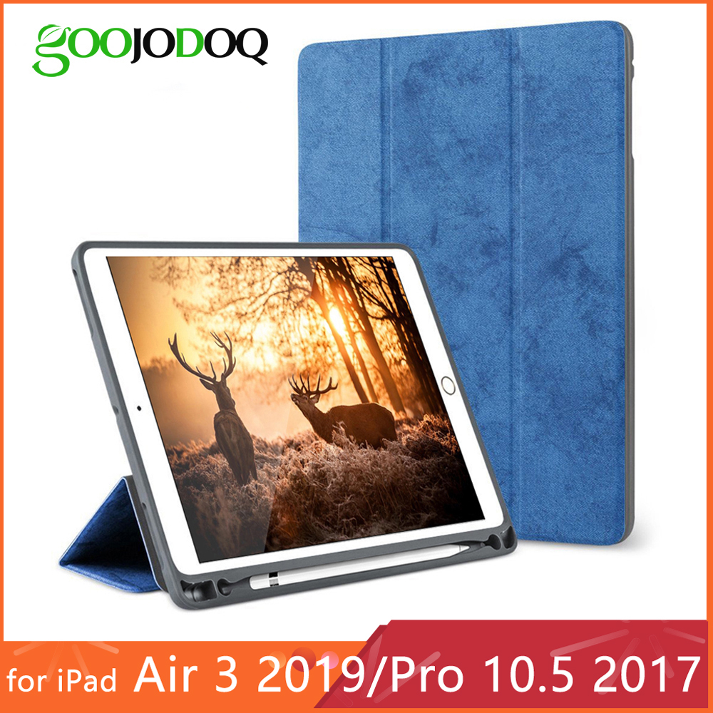 For iPad Pro 10.5 Case with Pencil Holder for iPad Air 2019 Case Funda, GOOJODOQ Shockproof