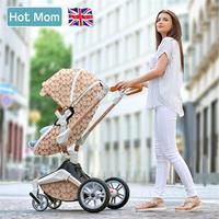 Gratis verzending Hot Mom 2 in 1 Luxe Kinderwagen twee-weg Pasgeboren vervoer Hoge Landschap Baby Kinderwagen Licht folding PU Materiaal 1