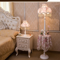 Simple Fashion Princess Led Floor Lamp Led Bulb E27 110V 220V Coffee Table Fabric Lampshade Floor Lamps European Style