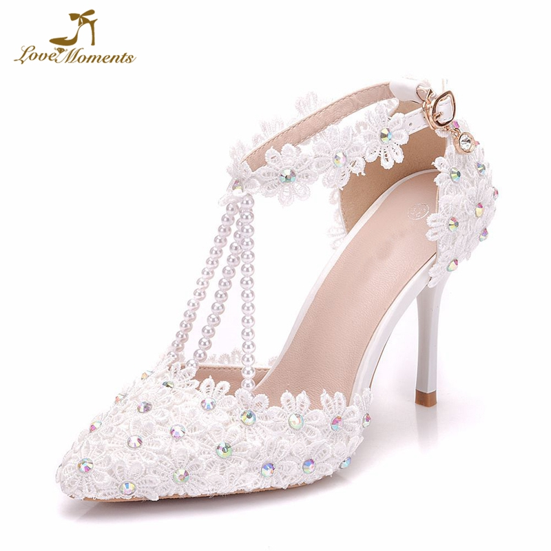 White Flower Lace Wedding Bride Shoes Party Prom Pumps AB Crystal Pointed  Toe High Heels Bridesmaid 747b5addd651