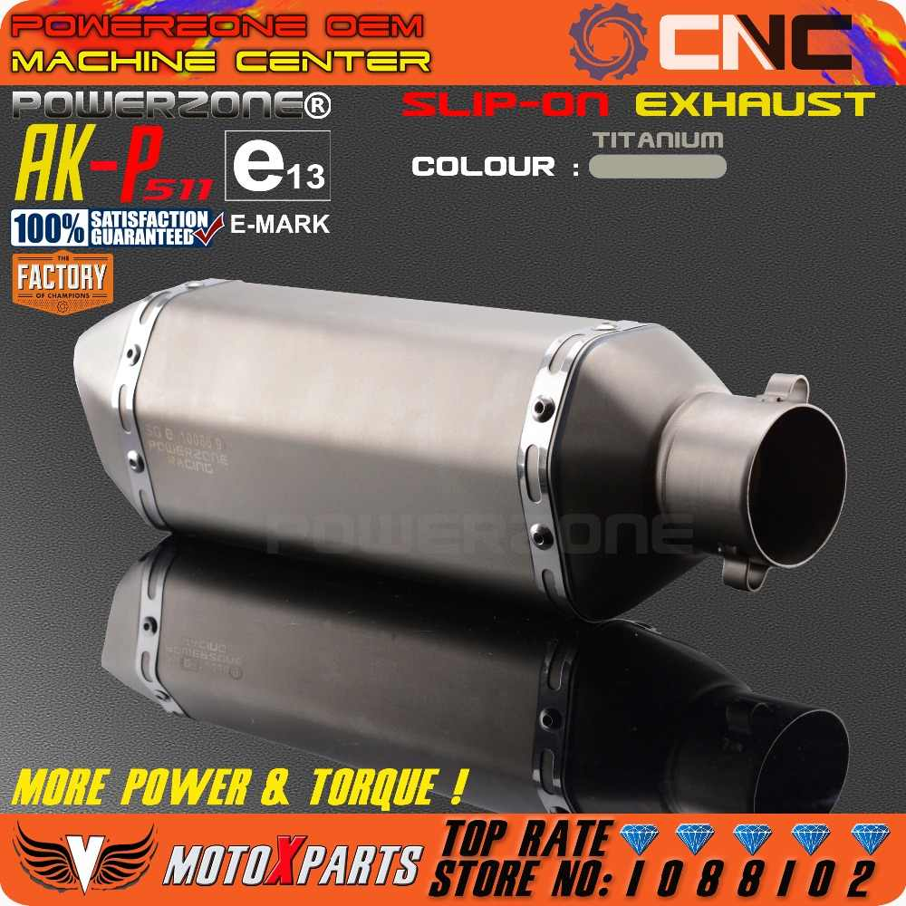 Modificados de la motocicleta E-Mark AK-P511 tubo de escape Universal Silenciador para CB CRB YZF TTR KTM EXC R6 ZX-6R ZX-10R GSXR Scooter ATV