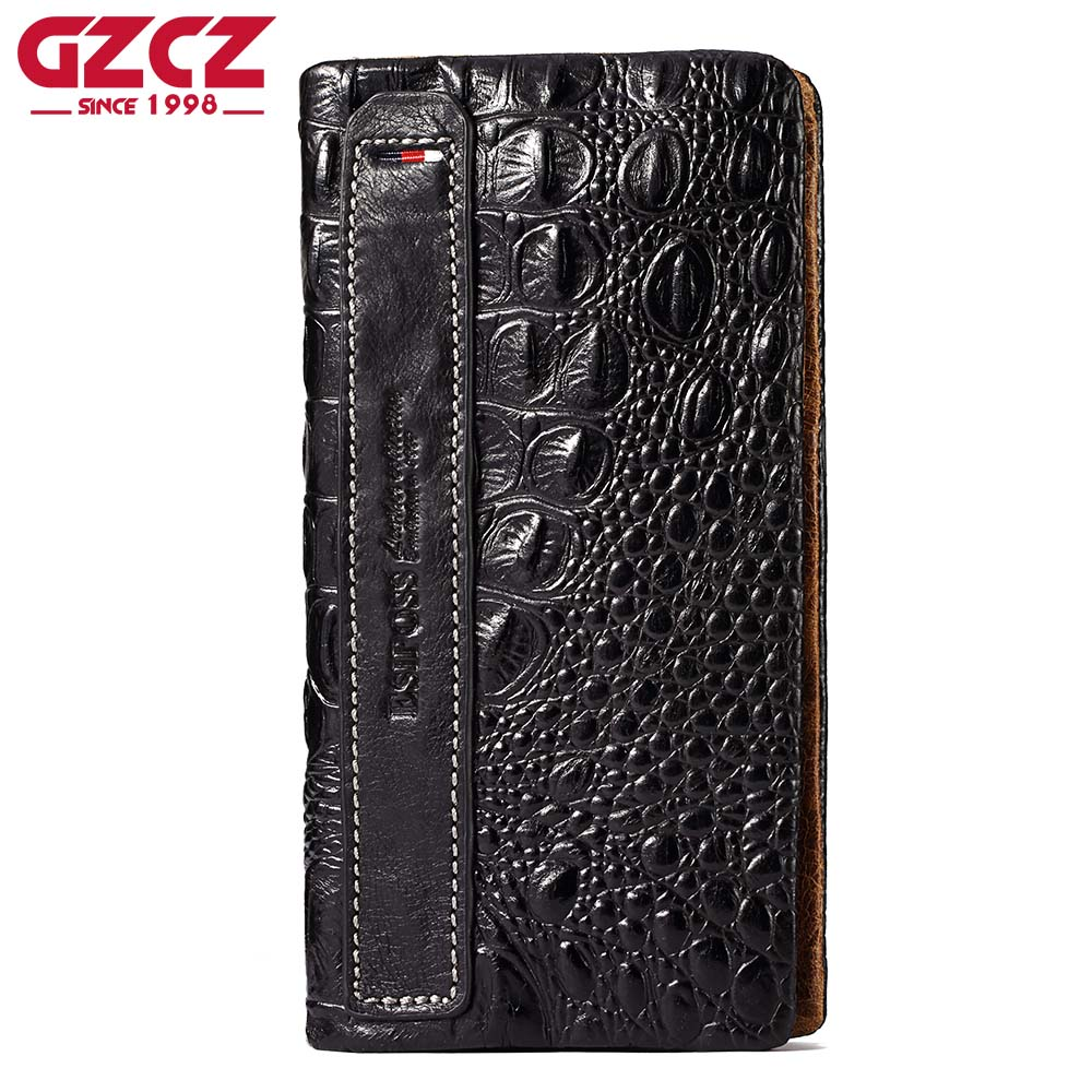 купить GZCZ Women Genuine Leather Wallet Female Crocodile Pattern Cowhide Female Purse Clutch Card Holder Phone Bag Coin Pocket недорого