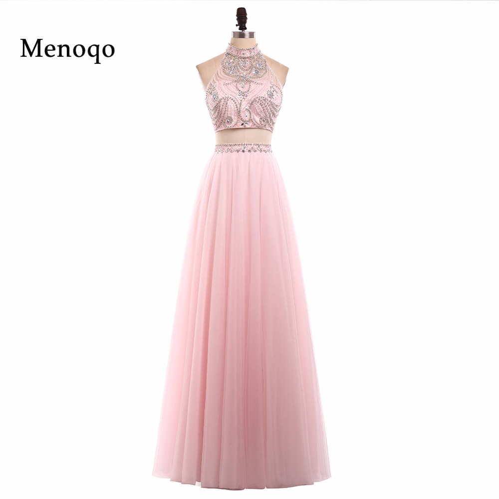 2018 High Neck Tulle A line Women Pageant dresses formal evening ...