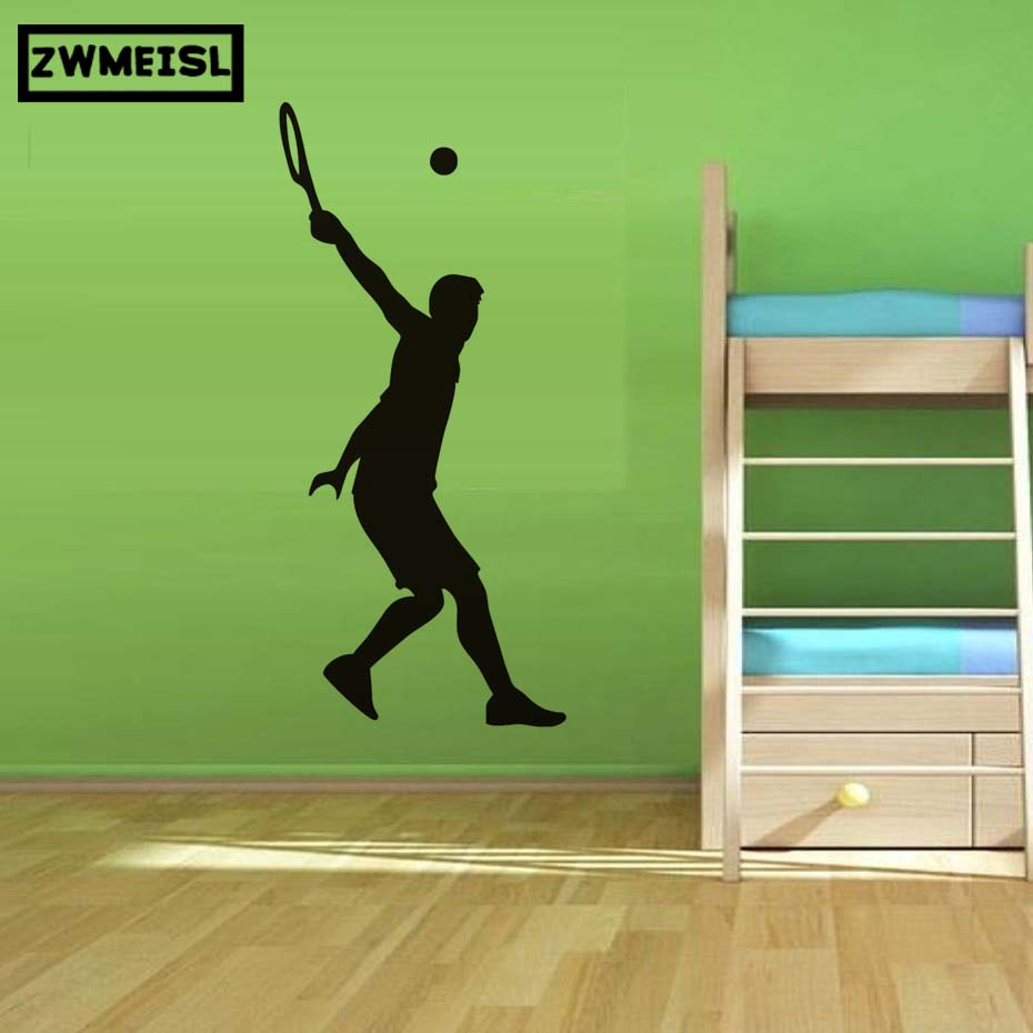 Home Decor Removable Tennis Serve Wall Sticker Sport Vinyl Decal For Living Room Tv Background Art Sticker Mural Accessories