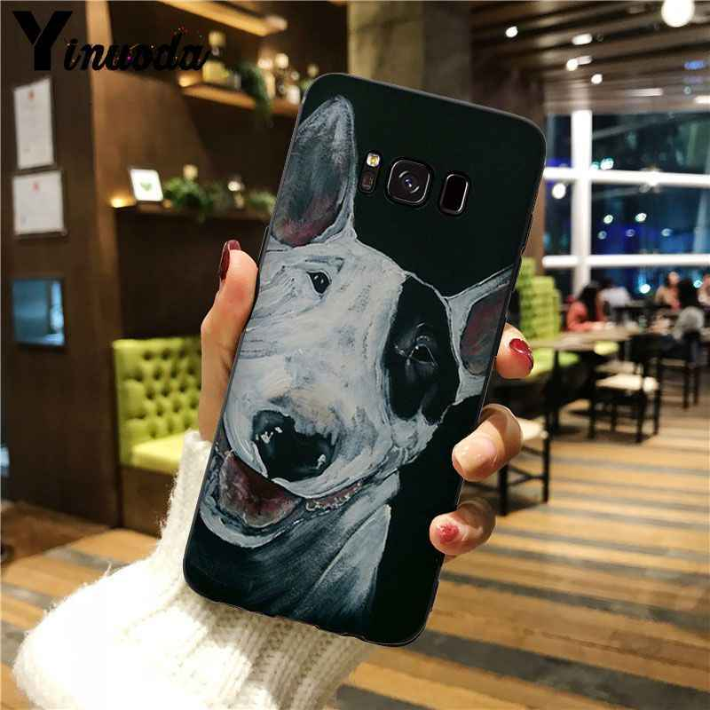 Yinuoda bullterrier bull terrier cão capa inteligente preto escudo macio caso de telefone para galaxy s5 s6 edge plus s7 s8 mais s9 plus