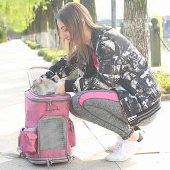 Pet Carrier Cat Backpack Messenger Breathable Pets Dog Cat Carrier Bag Travel Outdoor Shoulder Small Dog Cats French Bulldog