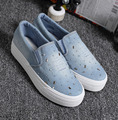 Women Shoes Slip On Casual Canvas Shoes Women Platform Spring Summer Women Denim Shoes P2d13