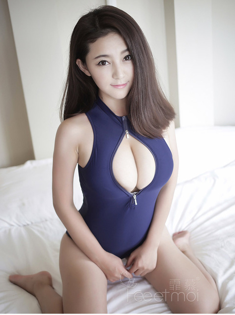 Hot Sexy Women Dark Blue Bondage Maid Catsuit Lingerie Double Zipper Open Bust Teddy Leotard Fetish Couple Bedroom Games Slips
