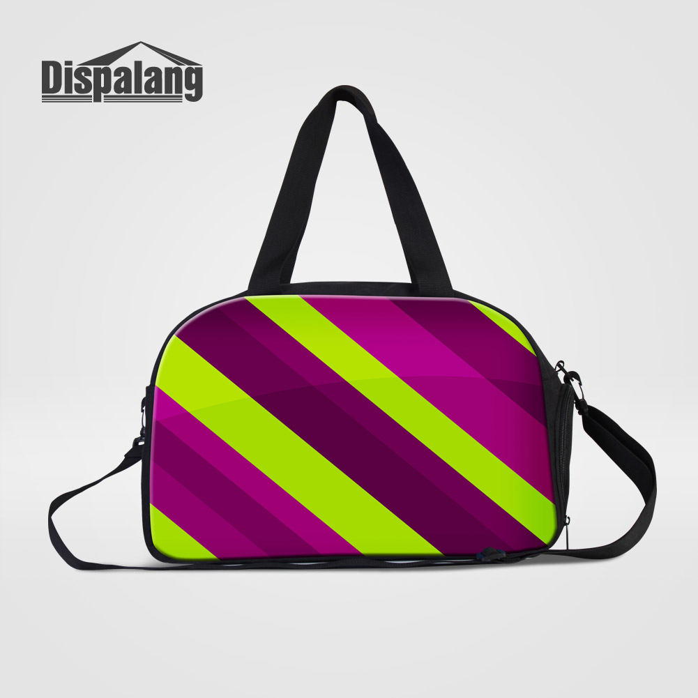 Dispalang Colorful Striped Traveling Duffle Bags For Women Large Clothes Weekender Messenger Bag With Shoes Space Overnight Bags