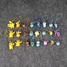 8pcs/lot Eevee Horsea Psyduck Lapras pvc figure toys keychain keyring mobilephone straps pendant