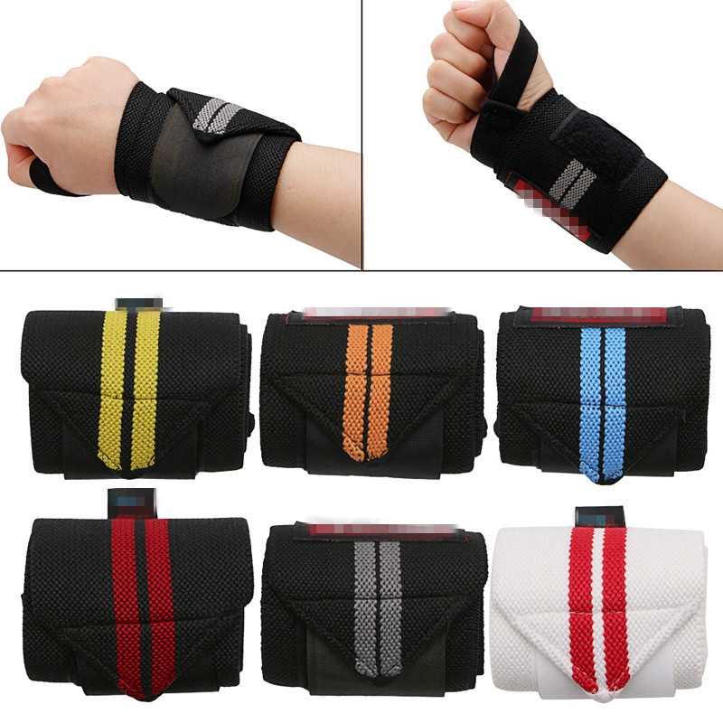 2Pcs Weight Lifting Sports Wristband Gym Fitness Wrist Thumb Support Straps Wraps Bandage Training Safety Hand Bands With Strap ...