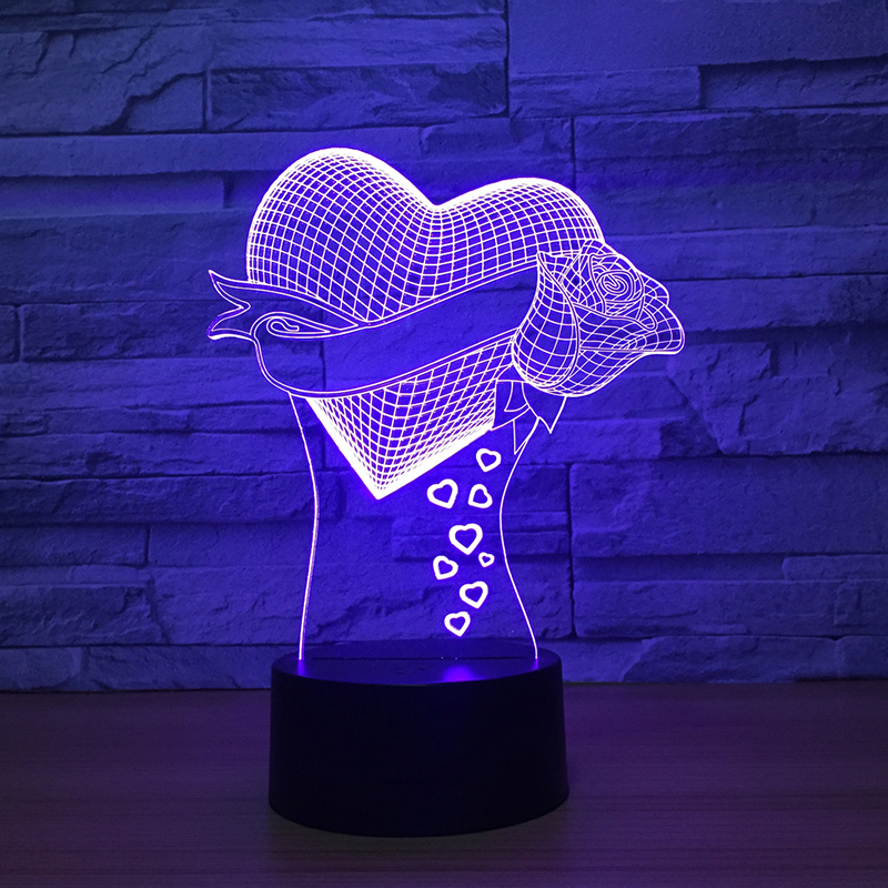 Love Heart rose 3D LED Lamp 7 Color Changing Table Decor Night Light 3D Luminaria Lamp Decoration light Girlfriend Birthday gift magnetic floating levitation 3d print moon lamp led night light 2 color auto change moon light home decor creative birthday gift