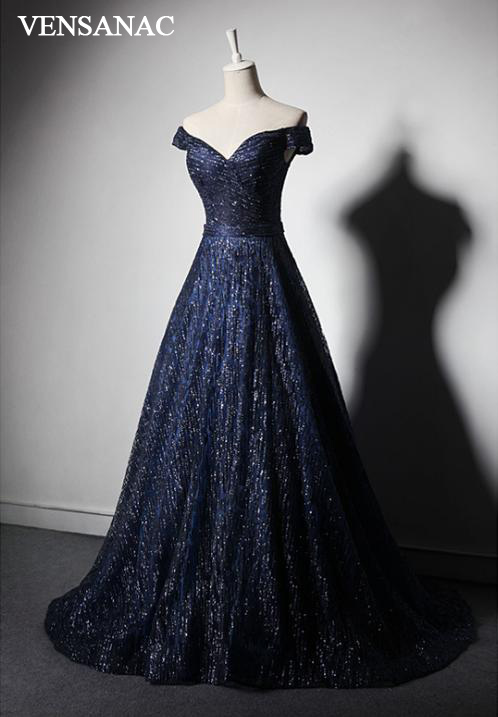 VENSANAC 2018 V Neck A Line Sequined Short Sleeve Backless Long Evening Dresses Party Lace Sash Sweep Train Prom Gowns in Evening Dresses from Weddings Events