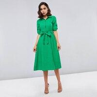 Sisjuly весенне-летнее женское платье с отворотом и шнуровкой на поясе, однобортное зеленое платье-рубашка на пуговицах, офисные женские элега...