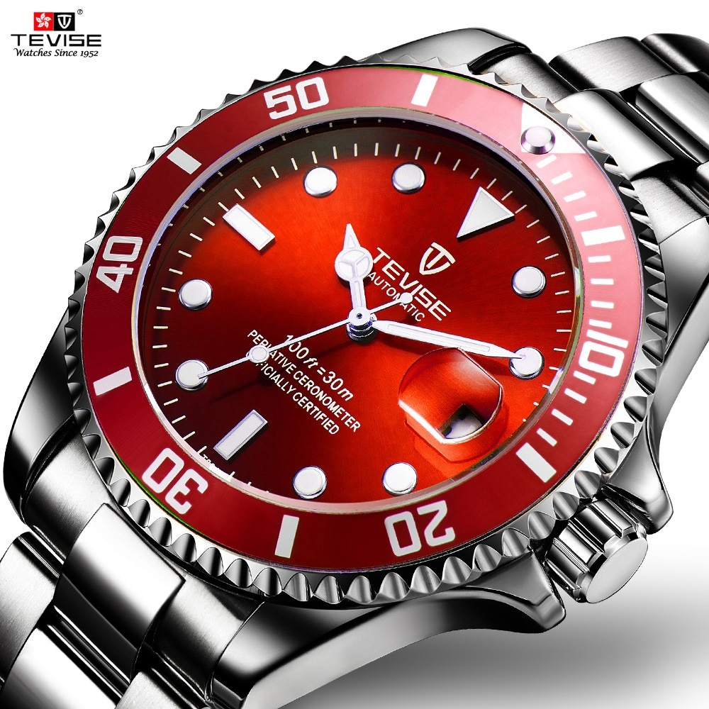 TEVISE Red Watch Men Creative Luminous Watches Date Waterproof Clock Man Blue Automatic Watch Purple Mechanical Wristwatches tevise men watch black stainless steel automatic mechanical men s watch luminous waterproof watch rotate dial mens wristwatches